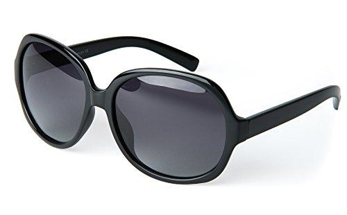 corciova Simple Casual Women's Polarized Sunglasses Uv400 Black Frame Grey Lens