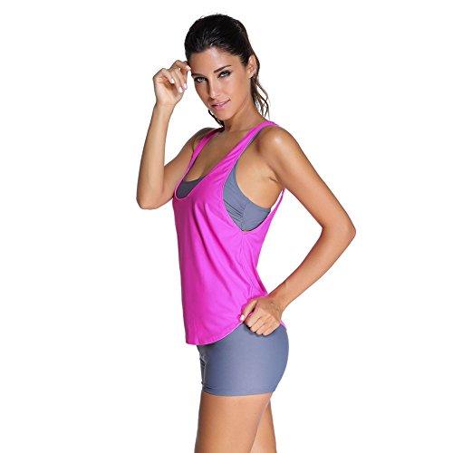 D'entrainement Débardeur rose M 3 Feelingirl Été Femme 3xl Set Gilet De Tankinis Bain Yoga Avec Maillots Gris Pièces Vêtement Sport nqx7HO