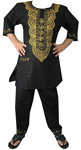 Decoraapparel Mens Dashiki Pant Set African Suit Gold embroidered with Hat One Size by Decoraapparel