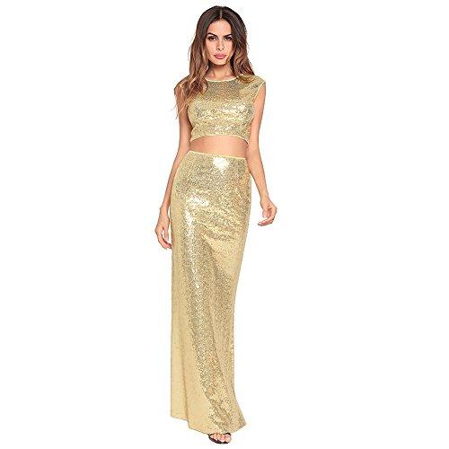 di a pesce a paillettes abito due Houjibofa sexy vestito pezzi Gold in coda SfR4fIq