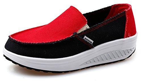 Las Mujeres De Ausom Slip-on Oscilan Cuñas Zapatos De Lona Ocasionales Plataforma Pierden Peso Fitness Walking Sneaker Red Black