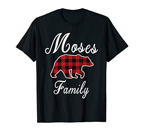 MOSES Family Bear Red Plaid Christmas Pajama Men Women Gift T-Shirt (Grandma Moses Christmas Cards)