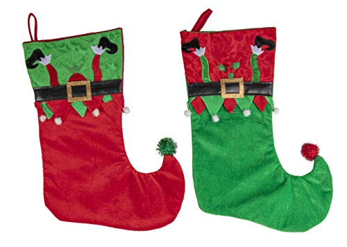Juvale Elf Leg Christmas Stockings - 2-Pack Holiday Red and Green Hanging Sock Ornament, Large Festive Gifts Holder, Santa Elf Shoes Design with Belt and Pom Pom, 14.9 x 10.5 -