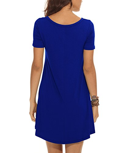 Sleeves T Swing Plain Jouica Casual Pockets Royal Women's Flowy Shirt Blue Simple Short Dress Loose nqRw07UR