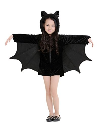 Cuteshower Kids Bat Jumpsuit Halloween Costume for Girls Small Black
