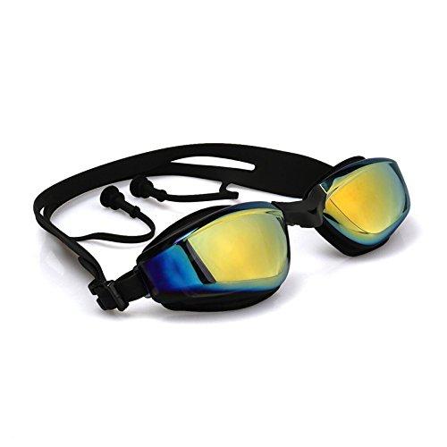 Forsea Miroir Adulte Lunettes de natation anti brouillard protection UV Noir Attached Bouchons d'oreille