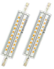 Bombilla LED R7s 78 mm, bombillas de 5 W LED Flood Spot iluminación luz blanca cálida, 3000 K, bombillas de bajo consumo, 500 lm, R7S, intensidad no regulable, forma cilíndrica, 2 unidades