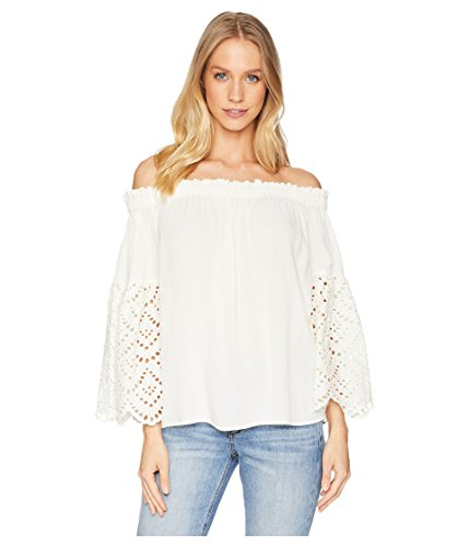 - 1.State Women's Off Shoulder Blouse with Eyelet Sleeves Antique White X-Large