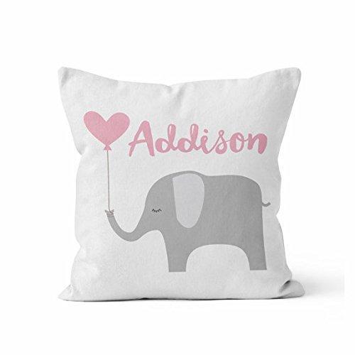 X-Large Custom Baby Girl Name Throw Pillow/Pink Grey/Elephant/Custom Name/Baby Girl/Nursery Pillow/Personalized/Name Pillow/Custom (Linen Personalized Baby Pillow)