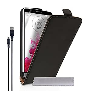 Caseflex LG G3 Case Black Genuine Leather Flip Cover And Micro USB Cable
