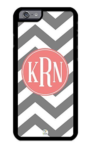 iZERCASE iPhone 6 PLUS Case Monogram Personalized Grey and White Chevron Pattern with Coral Circle RUBBER CASE - Fits iPhone 6 PLUS T-Mobile, AT&T, Sprint, Verizon and International (Black) by icecrea