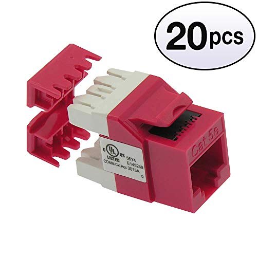 GOWOS (20 Pack) Cat.5E RJ45 110 Type 180° Keystone Jack Red ()