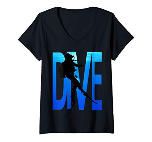 Womens Scuba Diving T-Shirt-Diver Dive Shirt V-Neck T-Shirt