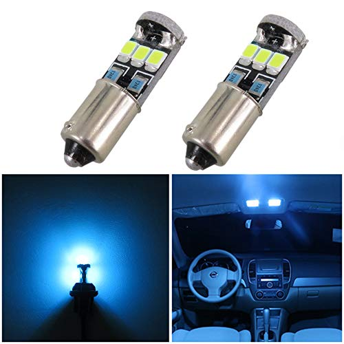 WLJH 2pcs Extremely Bright 400 Lumens 2835 Chipset Canbus Error Free Bayonet Base Bulbs 53 57 1895 64111 Ba9s LED Bulb Car Dome Map Door Courtesy Instrument Side Marker Parking City Light Ice Blue ()