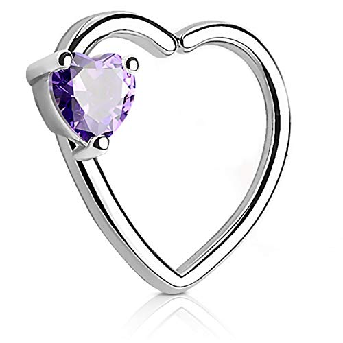 - Double Heart Cartilage Tragus Daith Piercing Earring (Right Ear) - 16G 3/8