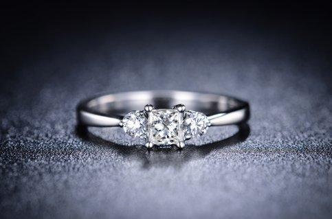 Gowe Nouvelle arrivée 100% naturel en diamant 0,42CT Diamant Certifié Or blanc 18K Bague Bague de fiançailles fine bijoux
