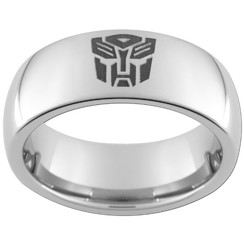 8mm Tungsten Carbide Dome Autobot Ring (full & half sizes 5-15) Size (Tungsten Carbide Transformers)