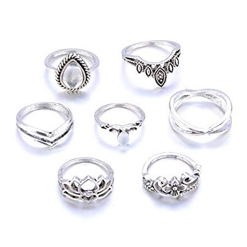 (Campton 7Pcs/Set Vintage Bohemian Rings Set Gemstone Knuckle Rings Midi Rings Jewelry | Model RNG - 12015 |)