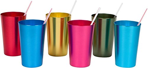 18 oz. Retro Aluminum Tumblers - 6 cups - By Trademark Innovations (Assorted Colors) Retro 6 Cup