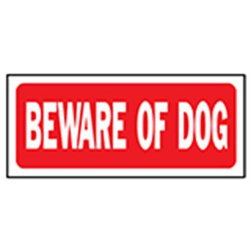 White//Red 6 x 14 HY-KO Products 23001 Beware of The Dog Heavy Duty Plastic Sign
