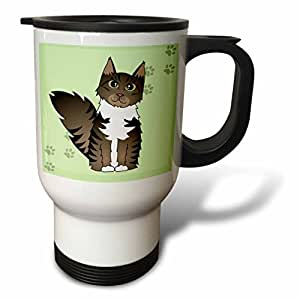 tm_35526_1 Janna Salak Designs Cats - Cute Maine Coon Cartoon Cat - Brown Tabby with White - Green with Pawprint - Travel Mug - 14oz Stainless Steel Travel Mug
