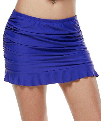 Ekouaer Ruffled Swim Skirt Ladies Summer Swim Dress Beach Skirt Plus Size ( Royal Blue, XL)