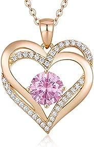 LOUISA SECRET Love Heart Birthstone Necklaces for Women 925 Sterling Silver PendantWomen's Necklaces Birt