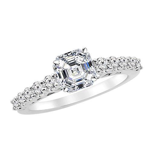 1.65 Ctw 14K White Gold GIA Certified Asscher Cut Graduating Classic Diamond Engagement Ring, 1 Ct D-E SI1-SI2 - Diamond Engagement Ring Asscher