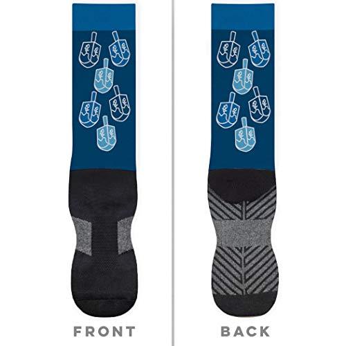 Dreidel Girl (Runner Girl Dreidels Printed Mid Calf Socks | Running Socks by Gone For a Run | Small)