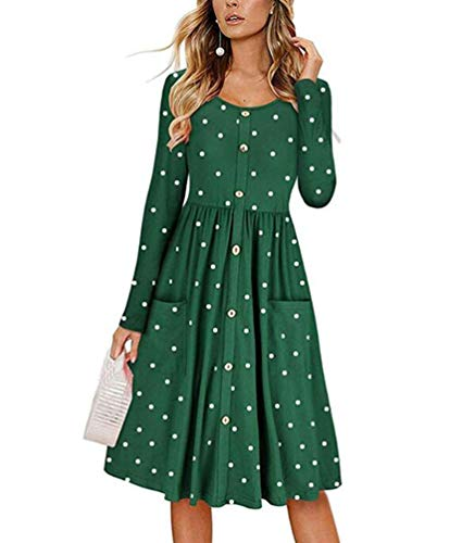 Teeuiear Women's Pleated Autumn Winter Polka Dot Print Button Down Dress Loose Swing Casual Tunic Cocktail Long Sleeve Dresses with Pocket (XL, Green)
