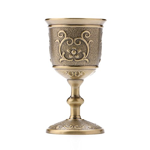 XHWine Vintage Hand-made Solid Copper 50ml Small Size Alcohol & Liquor & Whisky Glass Water Goblet Carving Pattern (Approx 1.7oz)