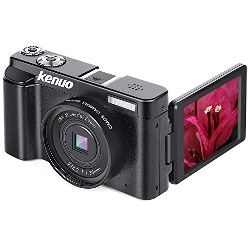 KENUO FHD 1080p Video Camera MAX 24.0MP 3.0 Inch 180°Rotation Flip Screen 16X Digital Zoom Camera
