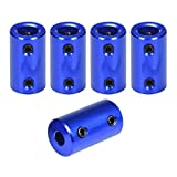 5mm to 8mm Flexible Shaft Coupling Rigid Stepper Motor Wheel Coupler Connector Aluminum Casing with Screw +Hexagon Wrench(Pack of 5)