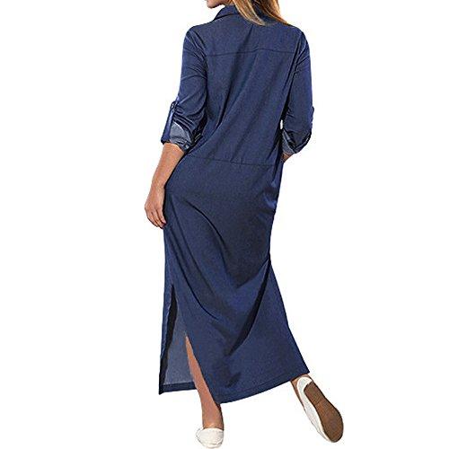 Robe en Jeans,Wolfleague Manches Longues  la Mode Casual Denim Pleine Jupe Chic Grande Taille Mi-Longue Marine