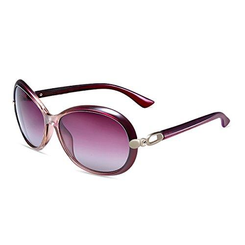 Sol Marea Polarizado De De Caja Conducción Sol Femenino Gafas LQQAZY Purple Brown Grande Gafas Retro Gafas qxEw1q4g