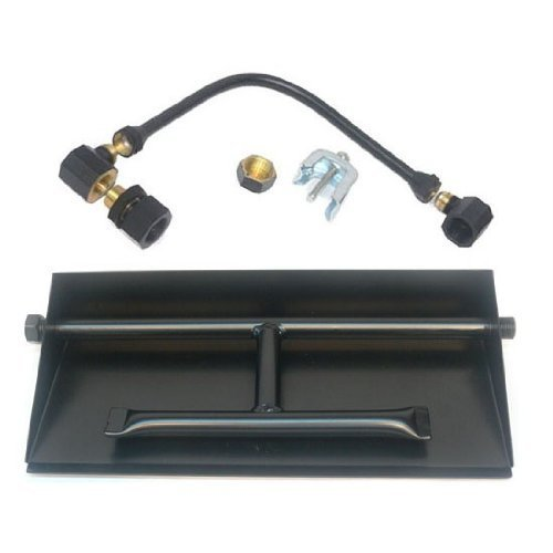 Dreffco 24 Inch LP Powder Coated Steel Complete Fireplace Dual Row Burner Pan Kit