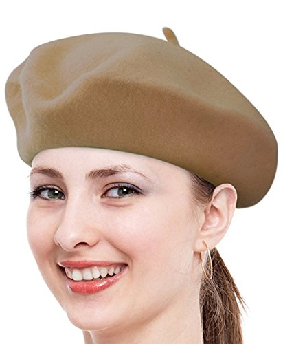 Khaki Combo - FuzzyGreen Gorgeous Berets, Classic Unisex Wool Khaki French Fluffy Beanie Beret Hat Cap