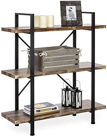 Best Choice Products 3-Tier Industrial Bookcase, Open Wood Shelves w Metal Frame, Home and Office Storage Display Furniture, Brown Black