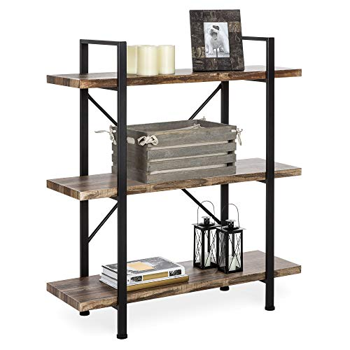 Best Choice Products 3-Shelf Industrial Open Bookshelf for Living Room, Office w/Wood Shelves, Metal Frame -Brown/Black