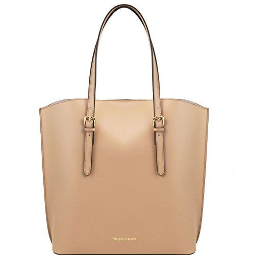 Tuscany Leather Sibilla Bolso Shopping en piel Ruga Marrón topo claro Bolsos de asa larga Marrón topo claro