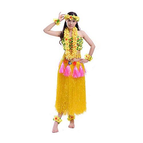 8 Pieces Elastic Hawaiian Hula Costume Set, Including Grass Skirt Corset Flower Bracelets Headband Necklace (Yellow)]()