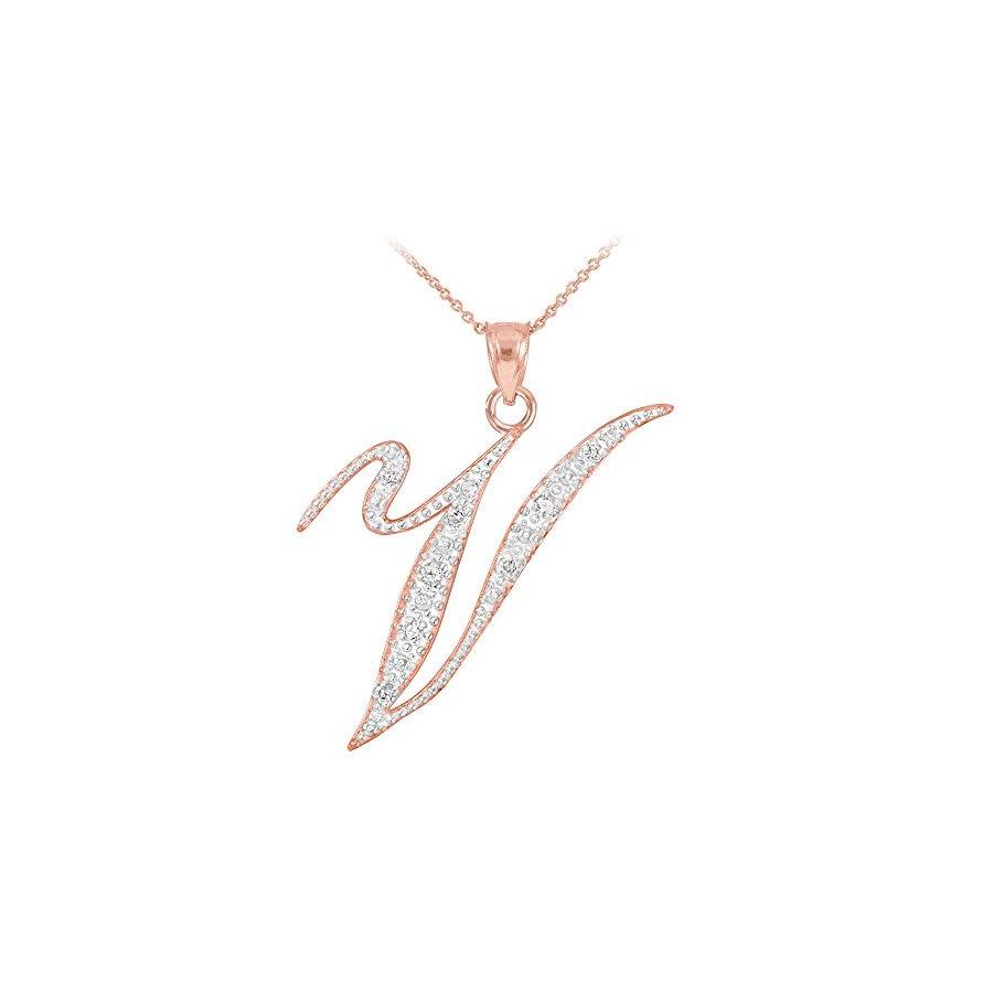 14k Rose Gold Diamond Script Initial Letter V Pendant Necklace