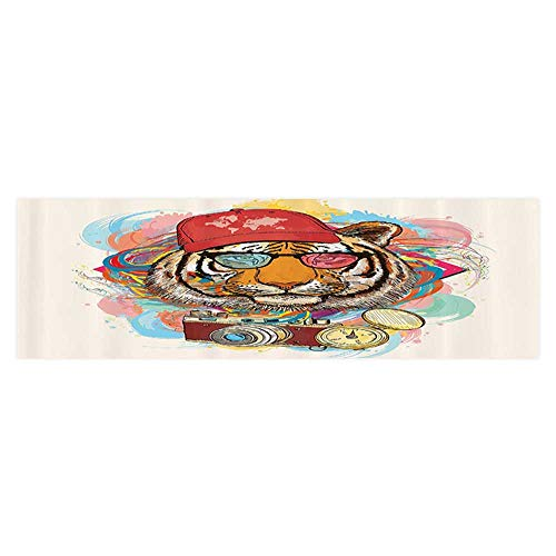 Leigh R. Avans Background Fish Tank Decorations Hipster Rapper Style Tiger with Sunglasses Hat and Camera Artist Hippie Animal Aquarium Sticker Wallpaper Decoration 29.5