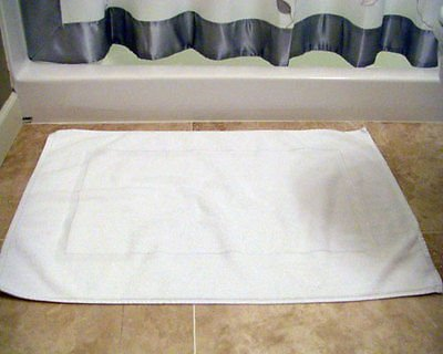 24pc Lot of New White Cotton Hotel Bath Mats 7#dz 20x30 Hote