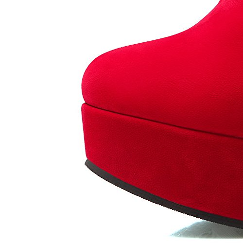 Solid Ornament Toe Fur Round Boots Frosted Closed Red Women's Low with top AmoonyFashion PU F7Bq5w