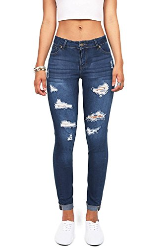 Wax Denim Women's Juniors Distressed Slim Fit Stretchy Skinny Jeans (7, Medium Denim)