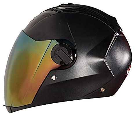 b83074d1 Steelbird SBA-2 Dashing 7WINGS Full Face Helmet with Tinted Chrome Visor (Large  600 MM, Black): Amazon.in: Car & Motorbike