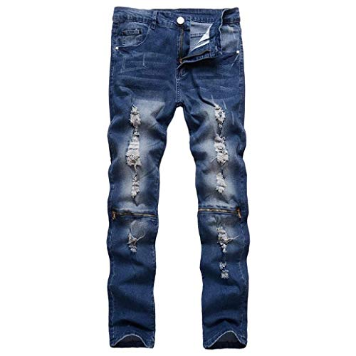 Straight Taped Slim Skinny Dasongff Denim Pantaloni Biker Blau Fit Destroyed Stretch Jeans Ripped Pants tPqXw