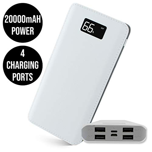 I-CHOOSE LIMITED WHITE + GREY   20000mAh Portable Charger   4-PORT USB POWER BANK with LCD LED Display   Battery Backup…