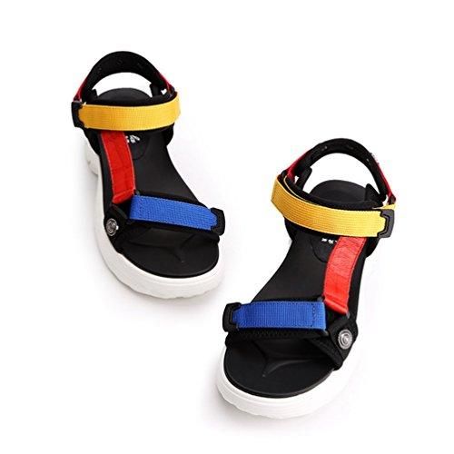 Résistant Couleur Plateforme Talon Été Sandales Antidérapant pour L'usure à de Sangle Chaussures Jaune Femme pwzx8RxqI